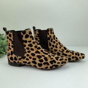 Tory Burch Leopard Calf Hair Chelsea Ankle Boots 8